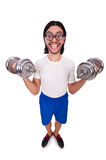 The funny guy with dumbbels on white Stock Photo