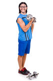 The funny guy with dumbbels on white Stock Photos