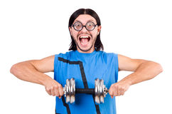 The funny guy with dumbbels on white Royalty Free Stock Photo
