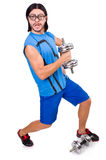 The funny guy with dumbbels on white Royalty Free Stock Photos