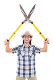 Funny guy with garden shears Stock Photography