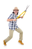 Funny guy with garden shears Stock Photo