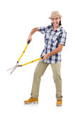 Funny guy with garden shears Royalty Free Stock Images