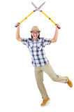 Funny guy with garden shears Stock Images
