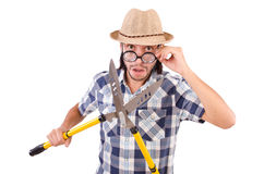 Funny guy with garden shears Royalty Free Stock Photos