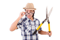 Funny guy with garden shears Stock Photos