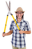 Funny guy with garden shears Royalty Free Stock Photo
