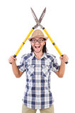 Funny guy with garden shears Royalty Free Stock Image