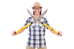 Funny guy with garden shears Royalty Free Stock Photography