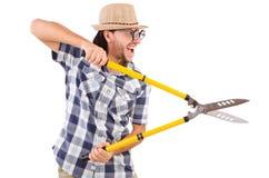 Funny guy with garden shears Stock Photos