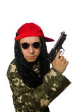The funny guy with gun isolated on white Royalty Free Stock Image