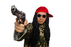 The funny guy with gun isolated on white Stock Photo