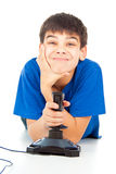 Funny guy with a joystick Royalty Free Stock Photography