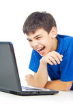 Funny guy with a laptop isolated Royalty Free Stock Photos