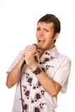 Funny guy with a microphone Royalty Free Stock Images
