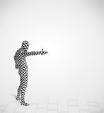 Funny guy in morphsuit body suit looking at copy space Stock Images