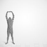Funny guy in morphsuit body suit looking at copy space Royalty Free Stock Photo