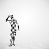 Funny guy in morphsuit body suit looking at copy space Stock Photo