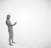 Funny guy in morphsuit body suit looking at copy space Stock Photography