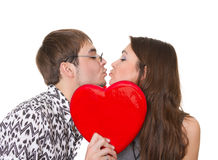 Funny guy nerdy and glamorous girl Royalty Free Stock Photos