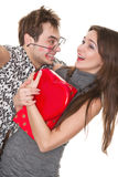 Funny guy nerdy and glamorous girl Stock Photo