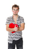 Funny guy nerdy  in Valentine's Day Stock Photos
