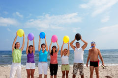 Funny guy and people with balloon Royalty Free Stock Photos