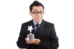 Funny guy receiving award Stock Images