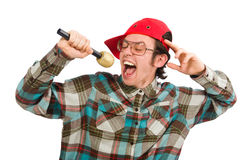 The funny guy singing isolated on white Stock Photo