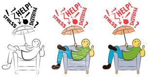 Funny guy sitting on a chair and showing thumbs up. Happy person is protected from fails. Anti-stress. Man solves The Problem. Sel vector illustration