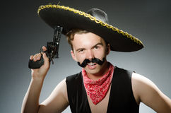The funny guy wearing sombrero hat Stock Images
