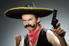 The funny guy wearing sombrero hat Royalty Free Stock Image
