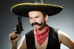 The funny guy wearing sombrero hat Stock Image