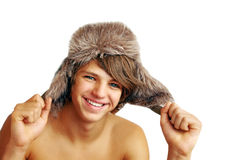 Funny guy in a winter hat. Stock Photography