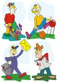 Funny guys cartoon illustration Royalty Free Stock Images