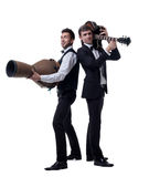 Funny guys posing with musical instruments Royalty Free Stock Images