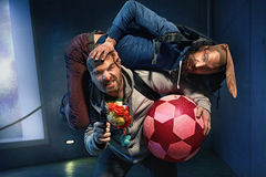 Funny guys trying to rob some toys. Funny guys trying to rob some worthless toys stock photos