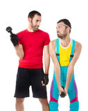 Funny gym club situation weights lifting Royalty Free Stock Photos