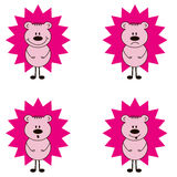 Funny hadgehog. Funny hedgehog with different muzzles: joyful, sad, surprised, happy Stock Image