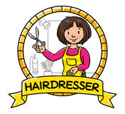 Funny hairdresser. Emblem. Profession ABC series Royalty Free Stock Photos