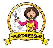 Funny hairdresser. Emblem. Profession ABC series Royalty Free Stock Photos