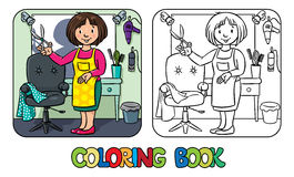 Funny hairdresseror barber. Coloring book Royalty Free Stock Images
