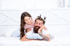 Free Funny Hairstyle. Compressed Into Boundaries Of Home. Happy Childhood. Family Leisure. Pajamas Party. Hairdresser Or Stock Photos - 178489893