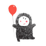 Funny Hairy Baby with Balloon Royalty Free Stock Image