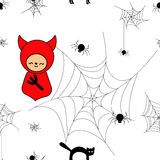 Funny halloween background. With animals and devil. Print for children. Seamless pattern for kids Stock Photography