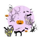 Funny halloween background. With animals and Jack-o-lantern. Print for children. Background for kids Stock Photo