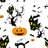 Funny halloween background. With animals and Jack-o-lantern. Print for children. Seamless pattern for kids Stock Images