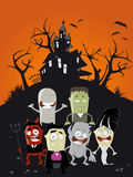 Funny halloween cartoon background Royalty Free Stock Images