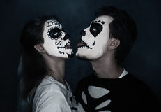 Funny Halloween couple in love Stock Photos