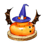 Funny Halloween cupcake with Bat wings, ghost, witch hat, spiders Stock Image
